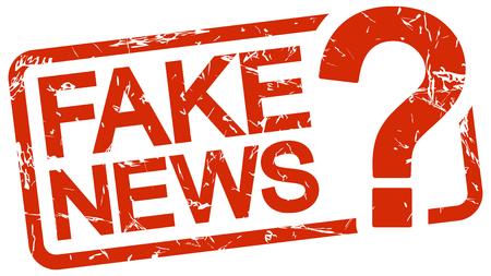 Grunge Stempel mit Rahmen farbig rot und Text Fake News Vektorgrafik