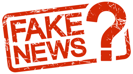 grunge stamp with frame colored red and text Fake News