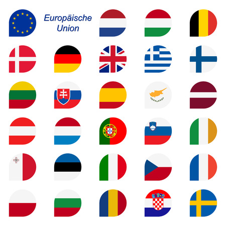 colors of EU member states within speech bubbles Illustration