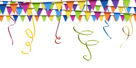 파티와 축제 사용을위한 색깔의 화환과 깃발 배경 일러스트