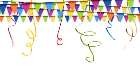 colored garlands and streamers background for party or festival usage