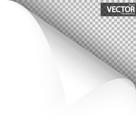 upper left paper corner with vector transparency showing shadow Ilustração