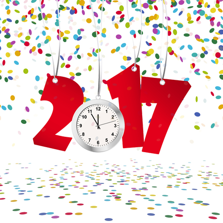 watch new year: Red numbers showing New Year 2017 with silver clock and confetti background