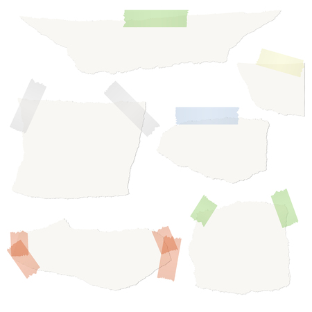 torn: Collection of white scraps of paper with colored tape