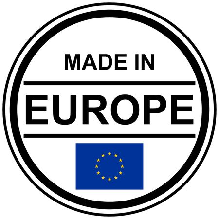banderole: Round stamp with text Made in Europe and country flag