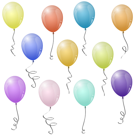 collection of eleven different colored flying party balloons