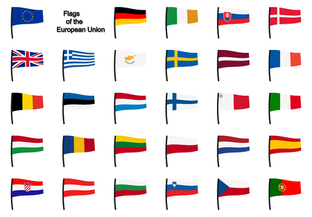 all european flags: collection of all flags of european union member states Illustration