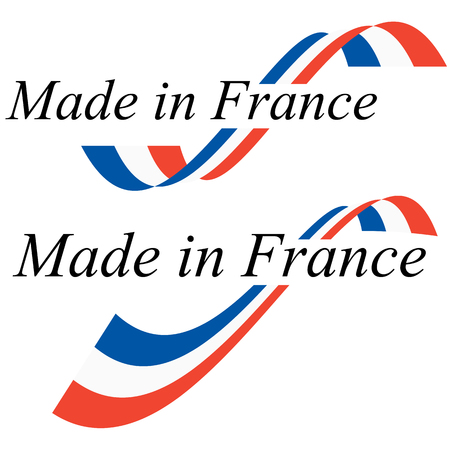 seal of quality with text made in France and colors of french flag