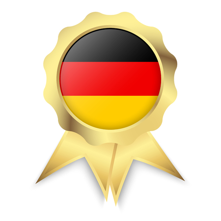characterize: gold button with ribbons and colors of Germany