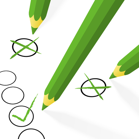 vector illustration of different green pencils with hooks and crosses