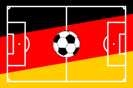 on top of the world: vector illustration of an soccer field with colors of germany background