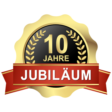 competence: gold button with red banner for 10 years jubilee (text in german) Illustration