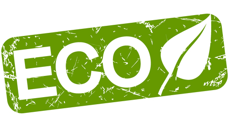 dioxin: grunge stamp with background colored green and text ECO