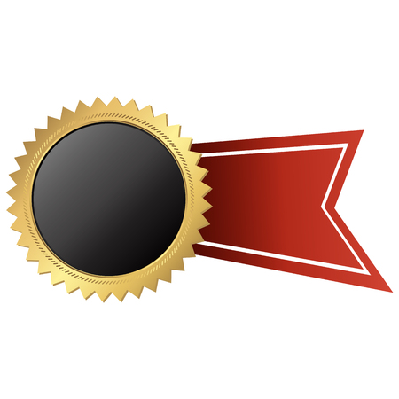 A template of round black button with golden frame and red ribbon