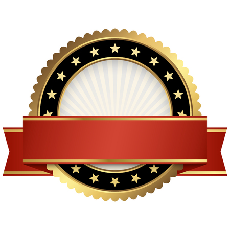 template of round seal with red colored banner Illustration