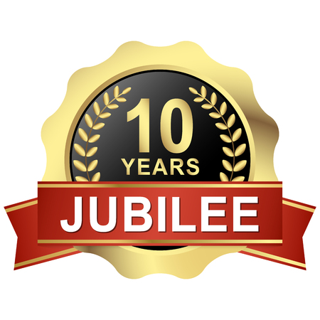 gold button with red banner for 10 years jubilee Illustration