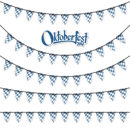 dekor: Oktoberfest garlands having blue-white checkered pattern and text Oktoberfest Illustration