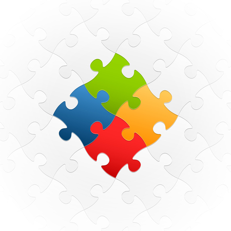 connection of gray puzzle parts with colored center parts symbolizing team work