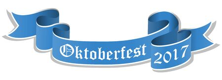vector illustration of an blue banner with text Oktoberfest 2017 isolated on white background
