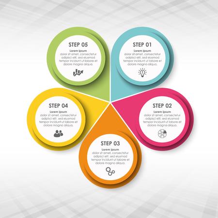 farbige Vorlage von Business-Info-Grafik mit verschiedenen Optionen zeigen Teamarbeitsprozess