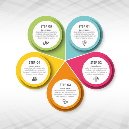 colored template of business info graphic with different options showing team work process