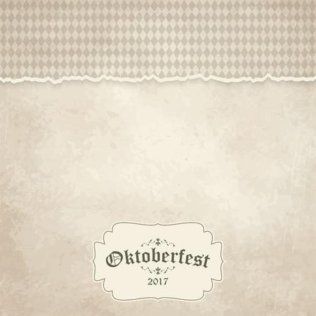 Vintage achtergrond met gescheurd open papier heeft geruite patroon voor Oktoberfest 2017 Stock Illustratie