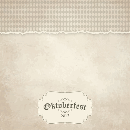 vintage background with ripped open paper have checkered pattern for Oktoberfest 2017 Ilustração