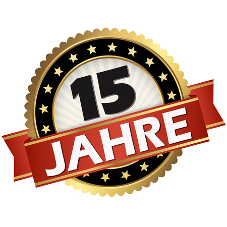round jubilee button with red banner and german text 15 years