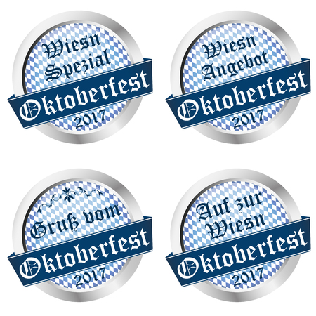optional: vector illustration of buttons for German Oktoberfest 2017 in Munich with text greetings, wiesn special; wiesn sale (text in german) Illustration