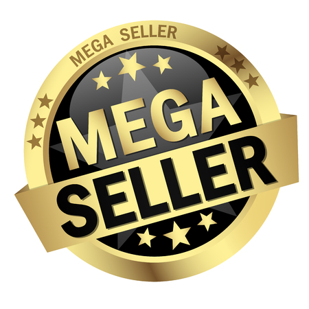 colored button with banner and text Mega Seller Stock Vector - 81168169
