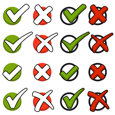 collection of red crosses and green hooks
