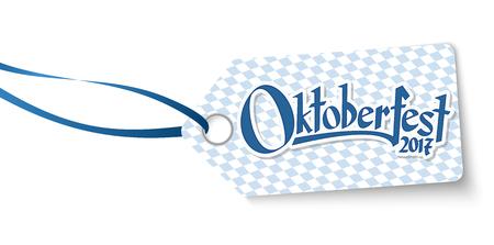 hangtag with blue white checkered pattern and text Willkommen zum Oktoberfest 2017 (in german)