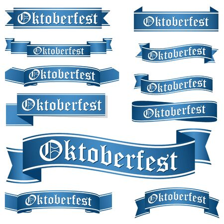 banderole: big collection of blue colored banners isolated on white background for german Oktoberfest