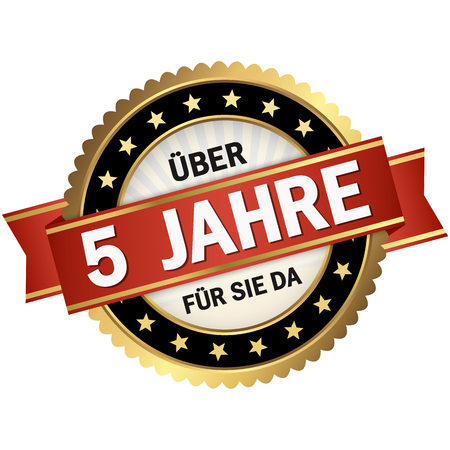 round quality seal with black frame, red banner and text over 5 years for you (in german) Illustration