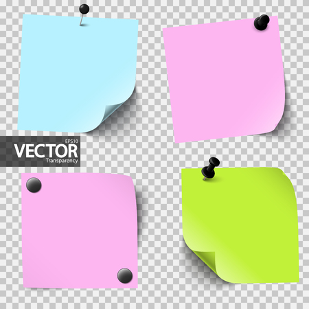 Vector illustration of an collection of sticky papers with pin needles showing transparency effect Illustration