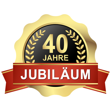Gold button with red banner for 40 years jubilee (text in german) Stok Fotoğraf - 81666214