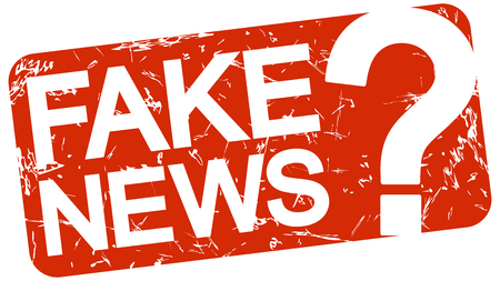 grunge stamp with background colored red and text Fake News