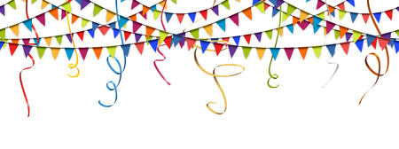 seamless colored garlands and streamers background for party or festival usage