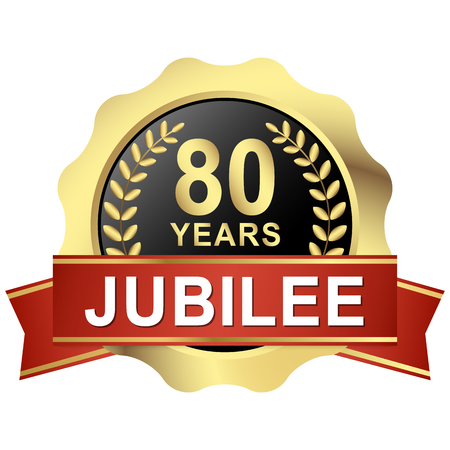 gold button with red banner for 80 years jubilee