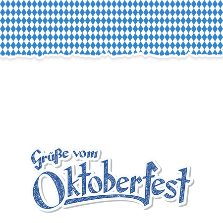 checker: Oktoberfest background with ripped open paper having blue-white checkered pattern and text Oktoberfest 2017