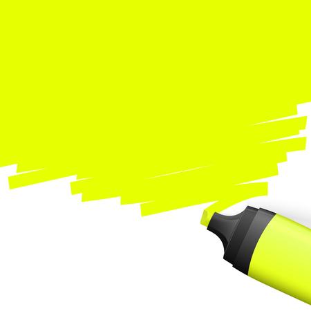 Evidenziatore colorato giallo con marcatura sul lato superiore.