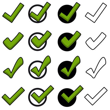 Colección de diferentes ganchos verdes en varios estilos. Ilustración de vector