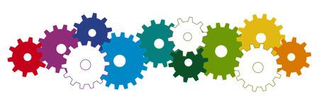 paciencia: ruedas dentadas de colores para simbolismo de cooperación o trabajo en equipo