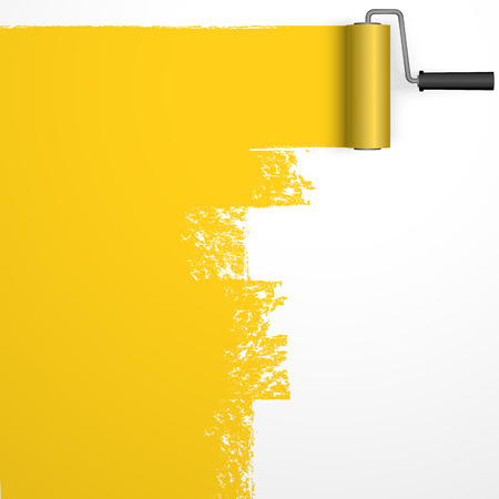 repainting with an paint roller with marking colored yellow Illustration