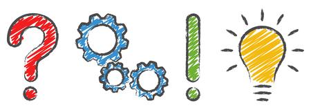 signo de interrogación, ruedas dentadas, signo de exclamación y iconos de concepto de bombilla que simboliza preguntas, análisis, planificación e idea Ilustración de vector
