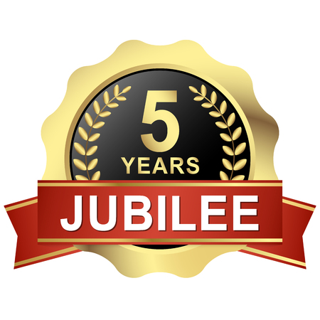 Round jubilee with red banner. Illustration