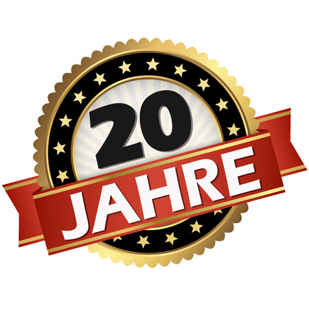 round jubilee button with red banner and german text 20 years