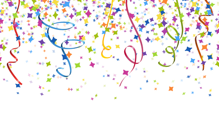 seamless background with different colored confetti and streamers for party time