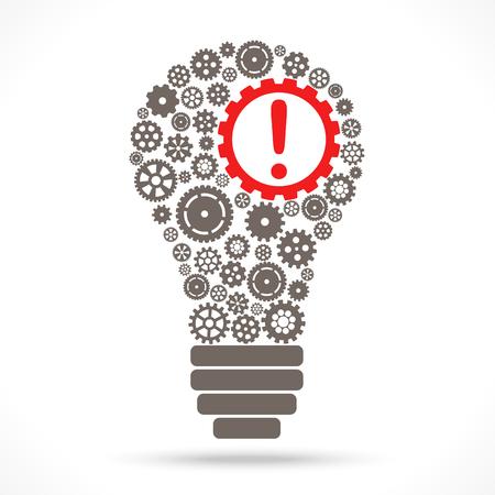ampoule avec roues dentées grises et point d'exclamation rouge symbolisant l'idée et le développement