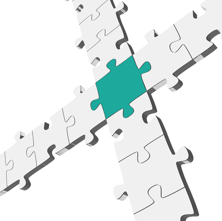 three dimensional connection of gray puzzle parts with one colored center part Illustration